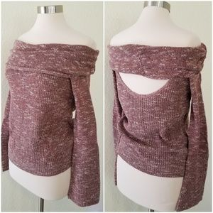 NWT Off-the-Shoulder Foldover Sweater
